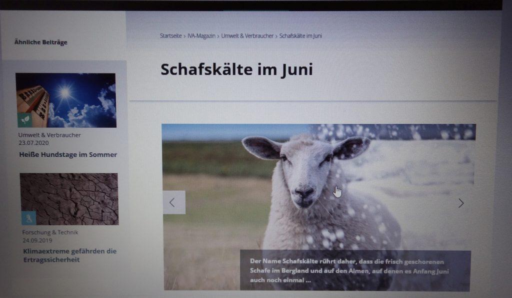 Screenshot Schafskälte